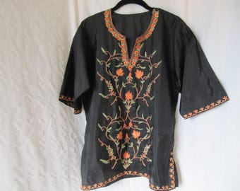 Vintage Boho Embroidered Tunic Silky Black Orange Green