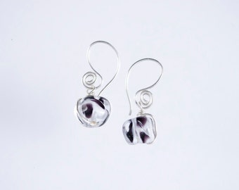 The Pacifik Image's Goodwin and Maxwell: Handmade sterling silver and lampworked recycled glass earrings.