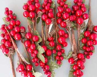 Berry Cluster Spray, Red Berry Spray, Grape Spray - Set of 12