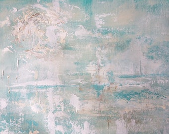 Original Fine Art Abstract Acrylic Painting Wall Art on Paper 9 x 12 inches aqua white