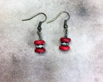 Red Boho Earrings Bohemian Rhinestone earrings brass howlite