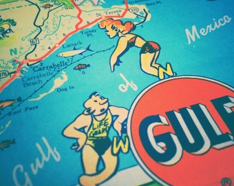 Vintage / Travel / Map / Wall Art / Gulf of Mexico / Pinup / Florida / Beach / Decor / Cottage / Nursery