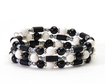 Black and White Memory Wire Bracelet - Mystic Black and Ivory Swarovski Gemcolor Pearl Wrap Bracelet