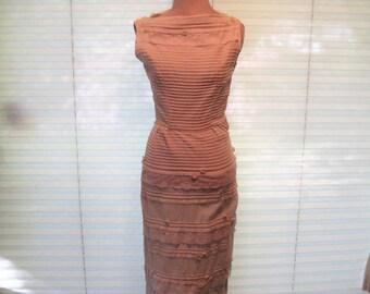 Vintage ivory gauze lace dress, 1940s tight wiggle dress, form fitting straight dress, bridal dress, party dress, size small