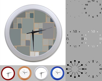 Gray Slate Design Wall Clock, Stone Block Design, Abstract Rock, Customizable Clock, Round Wall Clock, Your Choice Clock Face or Clock Dial