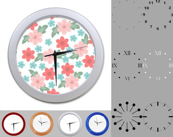 Blue and Pink Floral Wall Clock, Mixed Flower Design, Classic, Customizable Clock, Round Wall Clock, Your Choice Clock Face or Clock Dial