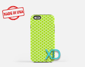 Scaled Phone Case, Scaled iPhone Case, Fishscale iPhone 7 Case, Neon Green, Fishscale iPhone 6 Case, Scaled Tough Case, Clear Case, Layers
