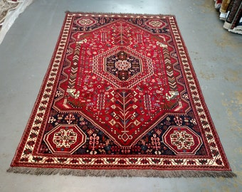 Persian Rug - 1980s Hand-Knotted Shiraz Rug (3574)