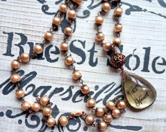 Gypsy Heart Necklace Pearls Quartz Bohemian Jewelry