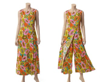 Vintage 60s Alex Coleman Mod Palazzo Jumpsuit 1960s Groovy MCM Carnaby Street Floral Wide Leg Pants Maxi Playsuit Dress / size S