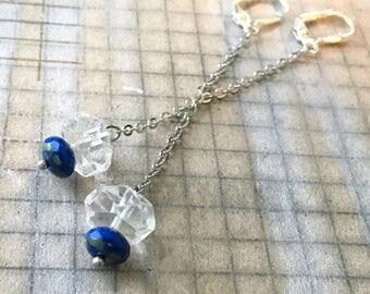 Vintage Czech Clear Glass Earrings | Blue Beads Chain | Repurposed Earrings