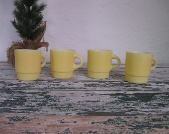 1960's Set of 4 Yellow Fire King Mugs// Mid Century