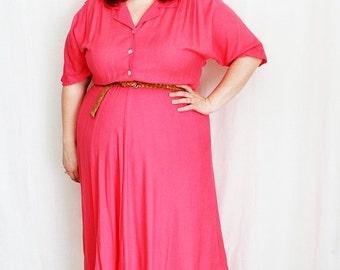 CLEARANCE - FINAL SALE - Plus Size - Vintage Coral Shirt Dress (Size 16W)