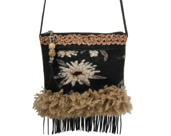 Western purse small, mini crossbody flower, wooly bag with fringes, Christmas gift for woman, fabric bags handmade, fringed bag black brown