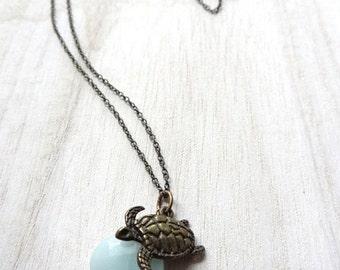 ON SALE Bronze Sea Turtle Aqua Blue Amazonite Gemstone bead crystal Necklace Pendant Handmade Jewelry Beading