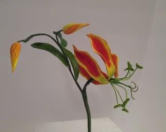 gloriosa lily flame lily cake topper sugar gumpaste edible