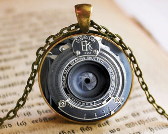 EK Vintage IMAGE of Camera Lens Pendant/Necklace Jewelry, NOT actual camera lens, Fine Art Necklace Jewelry, Camera Lens Photo Jewelry Glass
