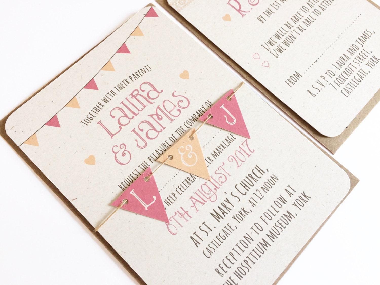Bunting Wedding Invite: Summer Fair Wedding Invitation Cute Wedding Bunting