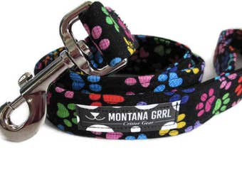 Dog Leash, Custom Made Designer Leash , Red Paw Leash, Pink Paw Leash, Rainbow colors paw leash