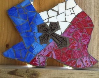 Mosaic stained glass Texas, Mosaic wall hanging, Texas room decor, Texas mosaic, western wall decor