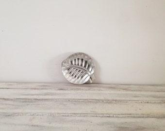 Silver leaf sculpture, small aluminum leaf plate/bowl, card holder, candy holder, etc, Greek folk art, aluminum leaf bowl, silver leaf plate