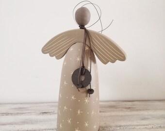 Ceramic angel sculpture, stoneware pottery angel, abstact angel sculpture, soft grey angel, dark red ceramic angel, Christmas angel