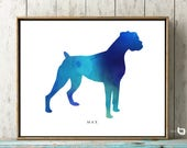 Boxer Dog Wall Art, Personalized Name Of Pet, Watercolor Boxer Art , Dog Print, Dog Painting, Dog Wall Art, Watercolor Art