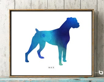 Boxer Dog Wall Art, Personalized Name Of Pet Print, Watercolor Boxer Art , Dog Print, Dog Painting, Dog Wall Art, Watercolor Art