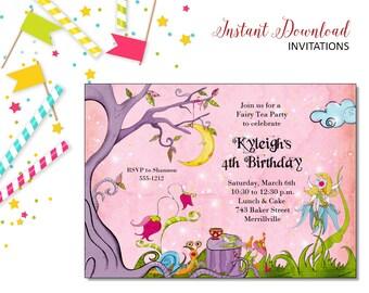 Fairy Tea Invitation | Tea Party | Printable Editable Digital PDF File | Instant Download | TPI108DIY