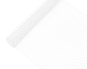 """1 Yard x 10"""" White Russian Millinery Birdcage Veil Netting - Available in 15 Colors"""