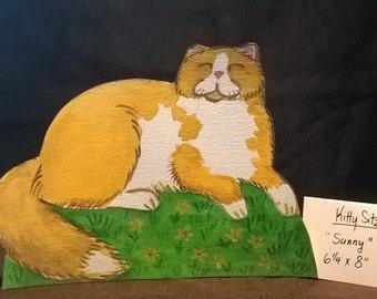 ORANGE FLUFFY CAT  - Kitty Sitz – 3-d shelf setter-for shelf or desk - original cat art for cat lovers – two dollar shipping