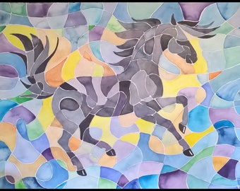 ABSTRACT HORSE PAINTING watercolor large 22x30 inches Colorful and Fun!