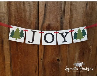 JOY banner - red green - xmas - holiday - 4x4 in panels - celebration - vintage banner - holiday banner - IATY518