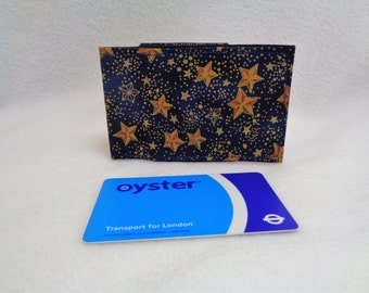 Blue and Gold Star Design Oyster Card Holder - Credit Card Holder - Business Card Holder - Gift Card Purse - Astronomy Gift