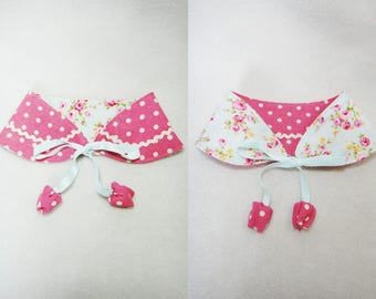 Pink polka dot and floral dog bandana Peter Peter Pan collar style Reversible medium large girl dog collar bandana ( MS-MM)