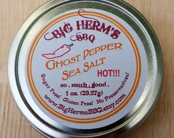 Ghost Pepper Salt - Super Hot, Spicy, Stocking Stuffer for Guys, Aja Jlokia Pepper, Caliente, Burning, BBQ, Smoker, Treager, Big Green Egg
