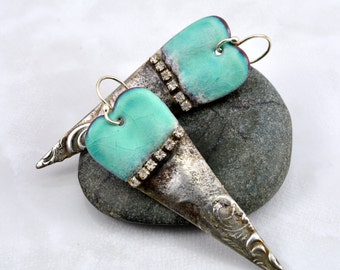 Blue Green Enamel and Textured Gilded Silver Solder Earrings with Sparkly Rhinestones