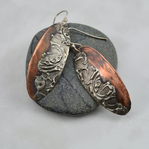 Stamp textured mixed metal copper and silver solder oval for How to solder copper jewelry