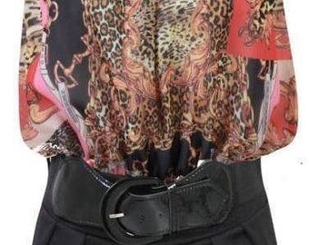 Animal Print Playsuit with Belt Size  M/L