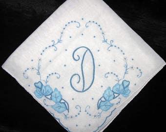 Embroidered D Hankie Wedding Hankerchiefs Hankie Handkerchief Initial Letter
