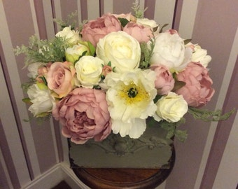 Artificial Silk Faux Pinks Creams Whites Peony Rose Shabby Chic Arrangement