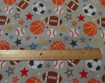Gray Riley Blake Play Ball 2 /Sportsballs Flannel Fabric by the Yard