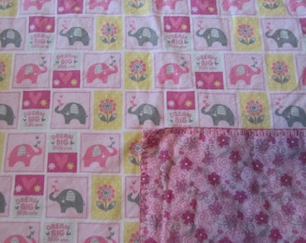 Girly Pink Elephant/Giraffee Dream Big Blocked  Double-sided Flannel Baby/Todddler Blanket