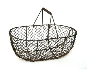 Authentic Vintage French Wire Harvest Basket, chock-full of country charm!