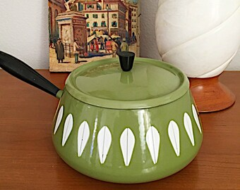 Mid-Century Catherineholm Pot, Fondue Pot, Lotus, Avocado Green, Norway, Scandinavian, Cookware, Enamelware