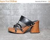 WOW 30% OFF Vtg 90s Black Leather Wooden Cutout Clogs Sandals 7