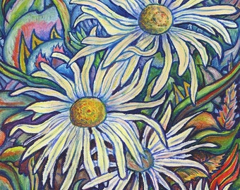 Art Print, Wild Daisies, Colorful Whimsical Daisy Flower Prints
