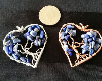 Blue Sodalite  Heart-Shaped Tree of Life Pendant / Necklace