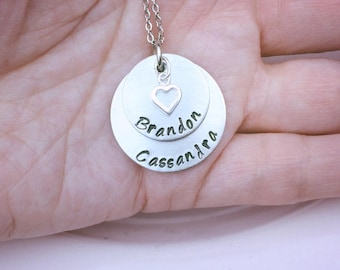 Mother's necklace / Name necklace / Personalized hand stamped necklace