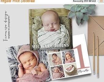 ON SALE 12x12 Baby Album Photoshop Template, Newborn  Photo Album for Pro Photographers, Baby First Year Photobook Template